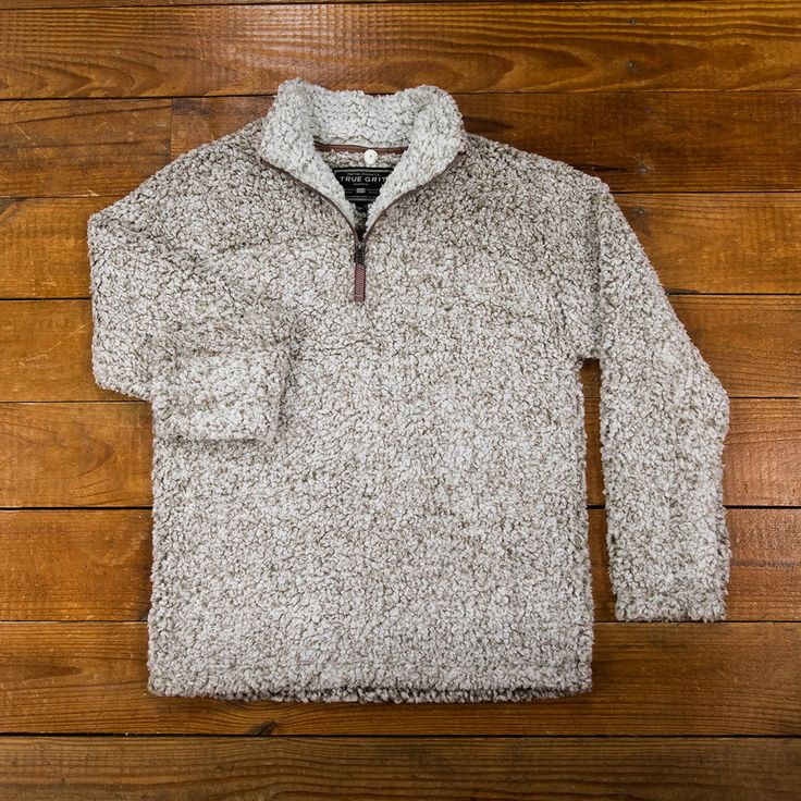 True Grit Frosty Tipped Fleece Pile Pullover in Brown.