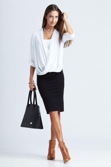 bird keepers The Cross Over Blouse - White blouse -  Smart, powerful office look - Womens Shirts & Blouses at Birdsnest Fashion