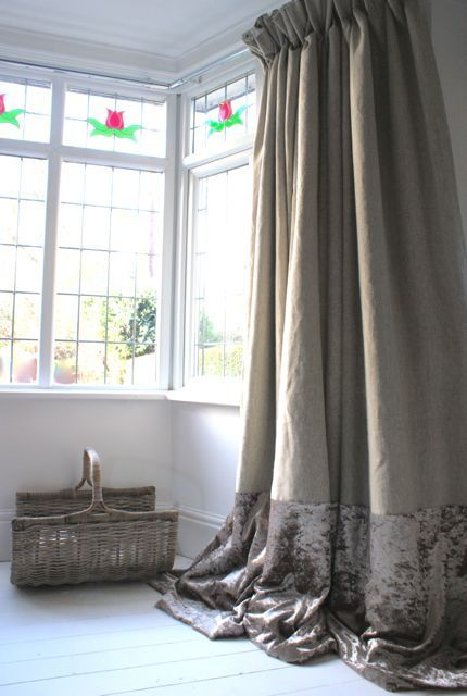 Vintage Swish Curtains, rustic stone linen with mink crushed velvet hem, extra long and large for bay window, elegantly pooled onto white floor boards: