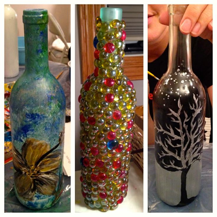 17 best images about painted wine bottles on pinterest for Can acrylic paint be used on glass bottles