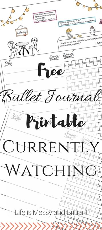 FREE Bullet Journal Printable Currently Watching