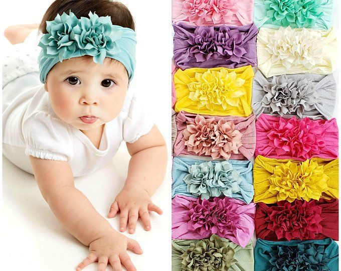 Princess Girls Flower Hairband Head Wraps Baby Nylon Headbands Toddler Turban