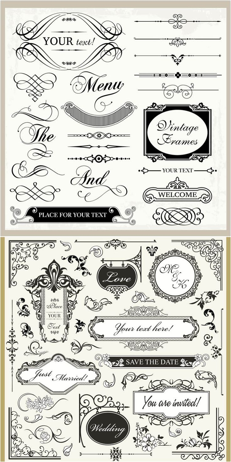 "2 sets with vector vintage wedding ornaments, frames and borders in decorative classic style for your wedding invitations, menus, cards, etc. Format: Ai, EPS stock vector clip art. Free for download. Vector set name: ""Vintage wedding ornaments vector"". Theme tags:…"