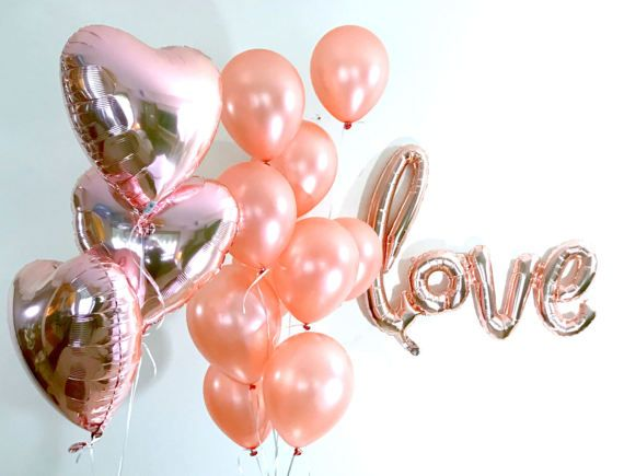 Rose Gold Balloon Bouquet  Gold Foil Balloon  Baby Shower