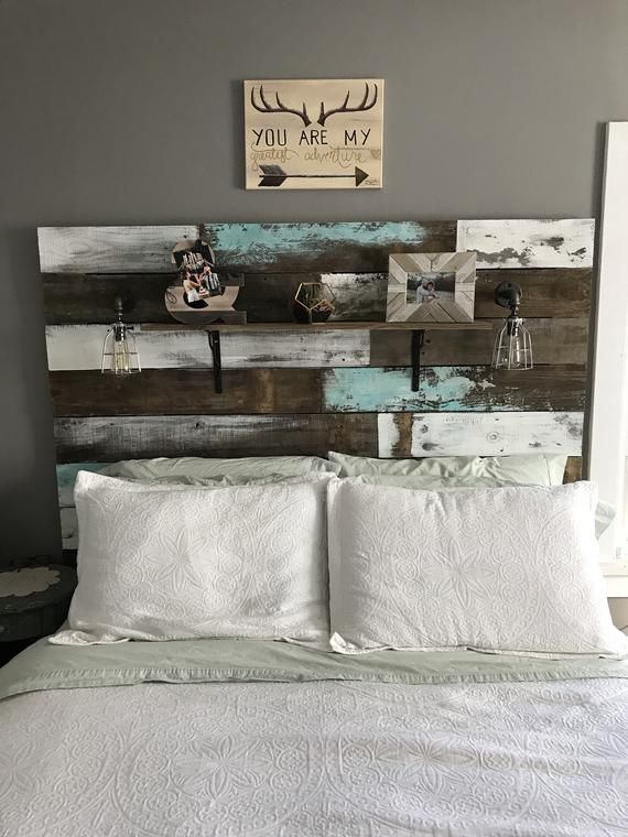 Farmhouse Rustic Chippy Paint Cottage Whitewashed Grey Blue Etsy Blue Headboard Reclaimed Wood Headboard Painted Cottage