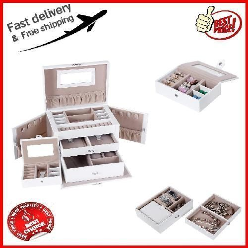 Portable Leather Jewelry Box Display Storage Organizer Case Locking Travel Gifts #SONGMICS