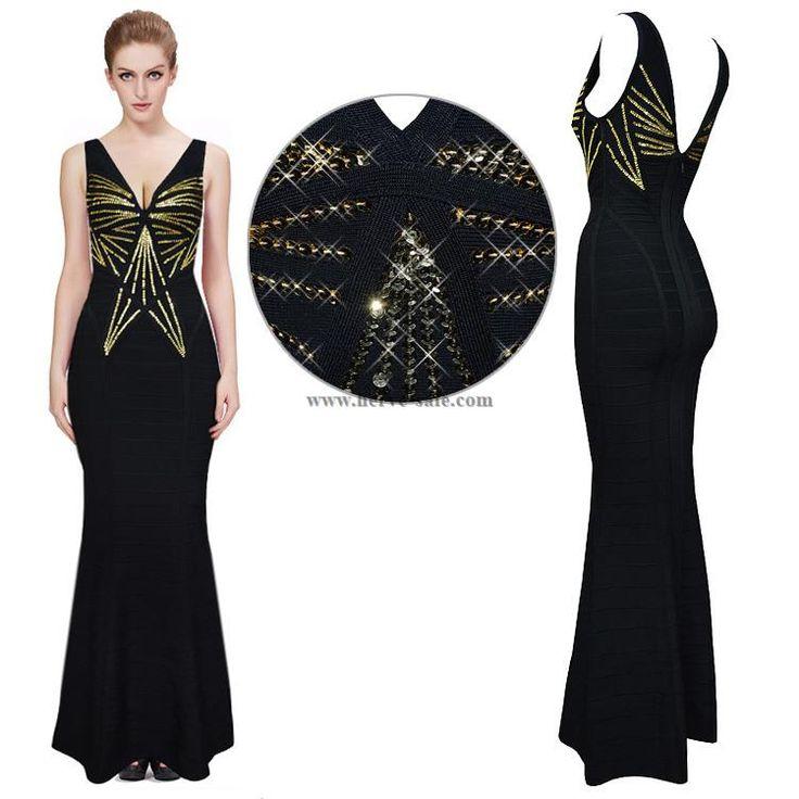 Herve Leger Black and Golden Sequins V-neck Mermaid Bandage Dress HL734B