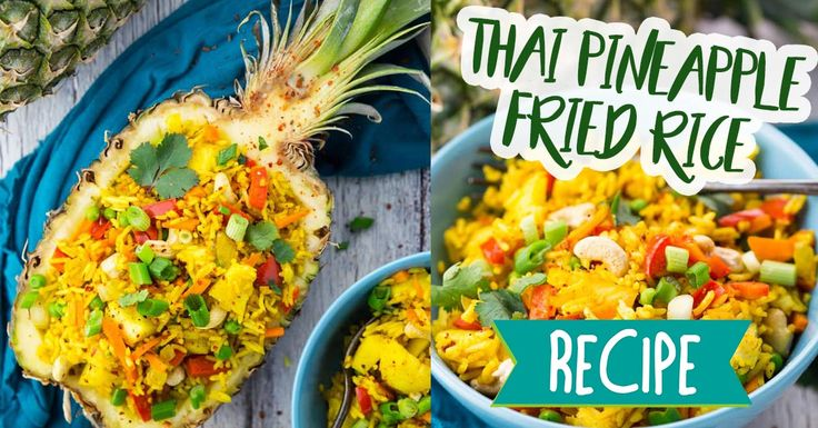 This delicious fried rice is full of bright Thai flavours and served in a pineapple dish! #recipe #food