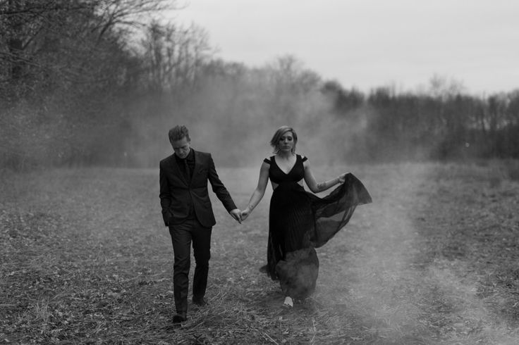 Spooky winter engagement session with this couple just north of Chicago. Smoke bombs and her dress = YES.