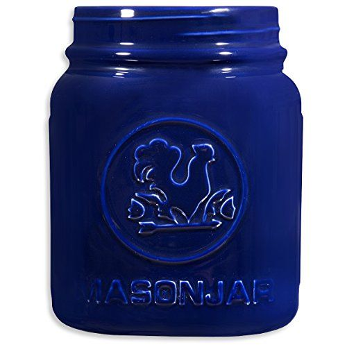 Home Essentials Blue Vintage Mason Jar Utensil Holder