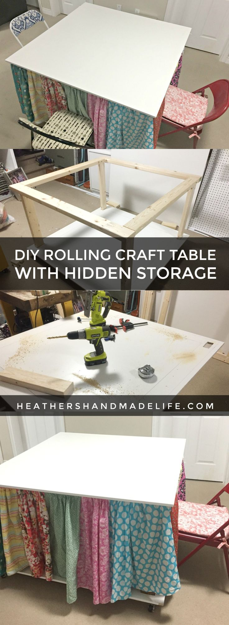 46 best decorating ideas images on pinterest paint for Rolling craft table with storage