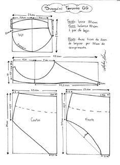 Esquema de modelagem de Biquini Retrô tipo Sunquini tamanho GG.