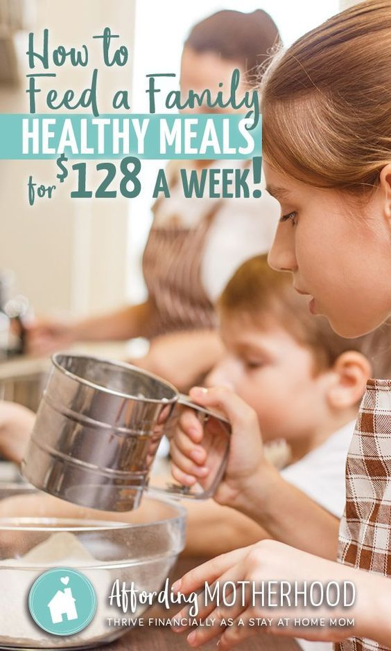 How to Feed a Family Healthy Meals on $128 a Week - Want to purchase healthy food on a budget? Here's a budget grocery list with tips and ideas for saving money on healthy food for your family. (This particular healthy grocery list for a tight food budget is for a family with 4 people, but the frugal ideas apply to all families.)