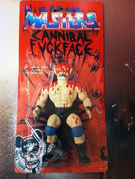 "Kalaka Toys's ""Masters: Cannibal F***face"" mash-up of Johnny Ryan's character & a MOTU figure!"