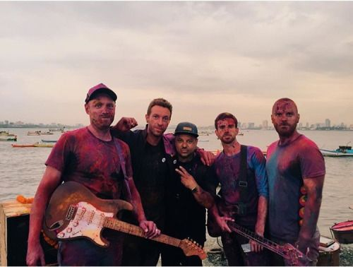 Coldplay with the director of the Hymn for the Weekend video in India