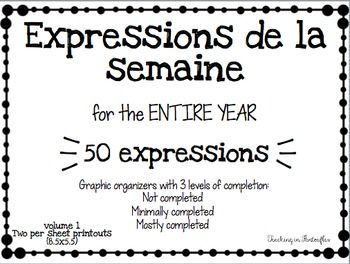 These are great do-nows! Help your students raise their proficiency with useful french Expressions. | Expressions de la semaine - French Expressions of the Week