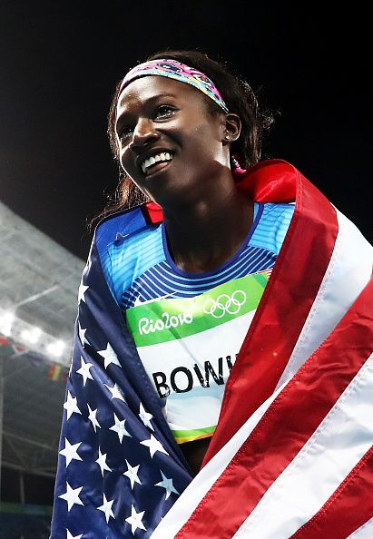 Tori Bowie of the United States celebrates after the Women's 100m Final on Day…