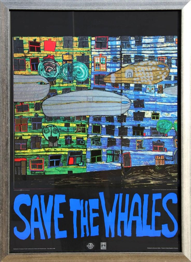 """Friedensreich Hundertwasser, """"Save the Whales,"""" Poster with Foil, 1982"""