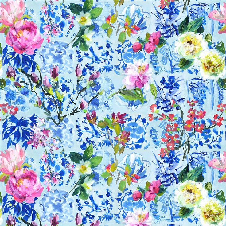 Majolica Cornflower Fabric | Designers Guild