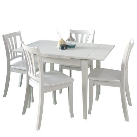 CorLiving Dillon 5 Piece Extendable White Wooden Dining Set