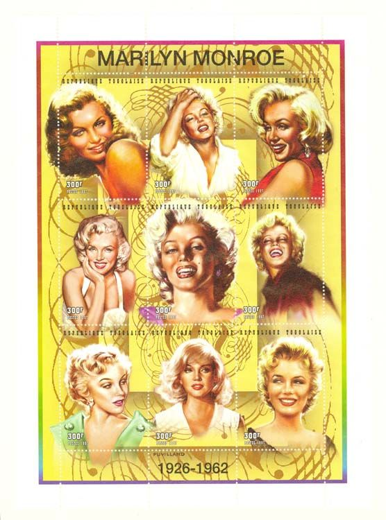 листа «Мэрилин Монро», который выпустила в 1997 году Почтовая служба Того к…
