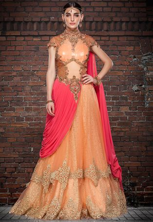Peach Net and Faux Georgette Readymade Double Layered Gown