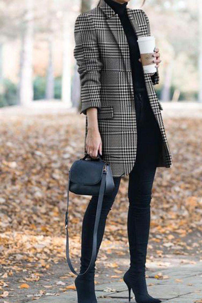Winter Vintage Lapel Collar Plaid Cashmere Coat – …