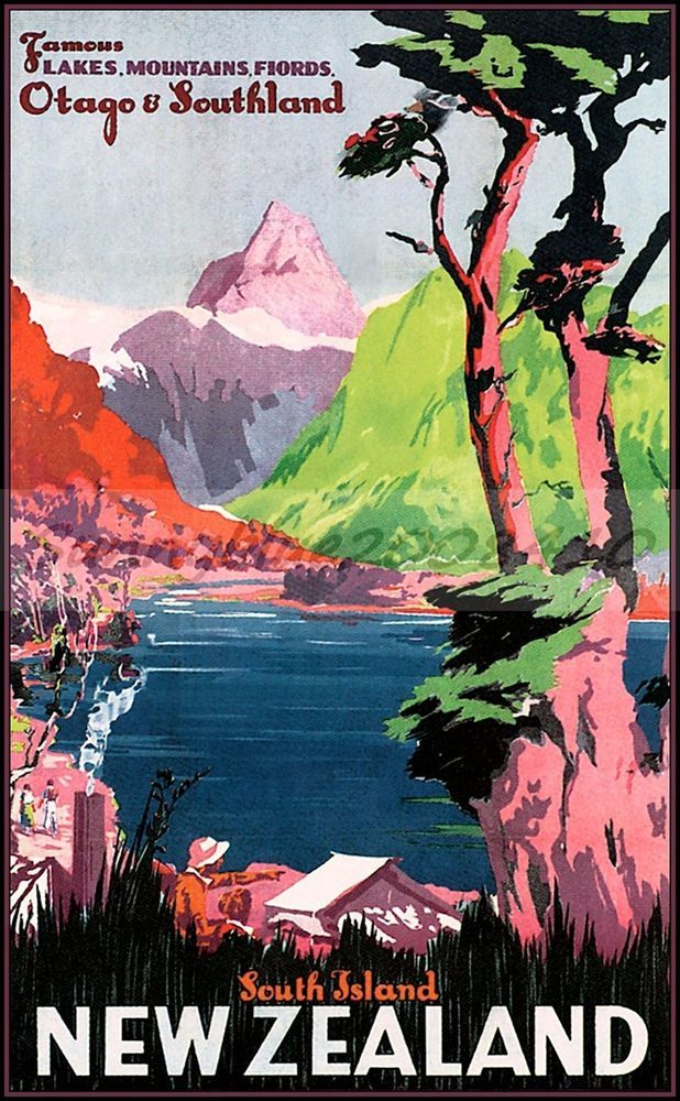 New Zealand, South Island. Vintage Poster Print on REAL CLOTH ART CANVAS.