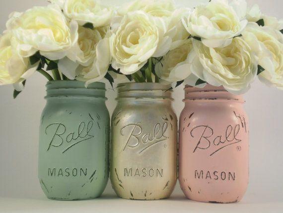 Shabby Chic Mason Jars Painted Mason Jars door lilpumpkincrafts, $16.00