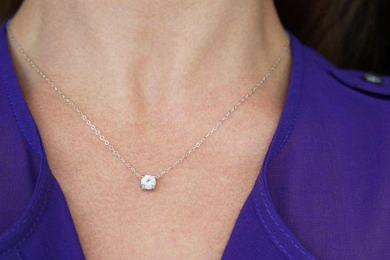 Floating Diamond Necklace CZ Necklace by BrightMomentsJewelry: $25.00