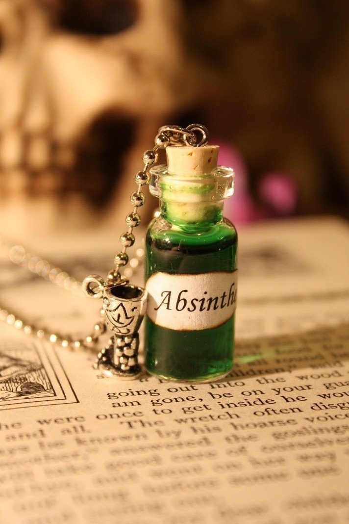 Glass Vial Necklace - Absinthe.  via Etsy.