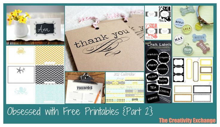 amazing collection of free printables (cards, notes, chalk labels, etc) from The Creativity Exchange Blog