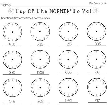 Practice telling time with this St. Patrick's Day themed