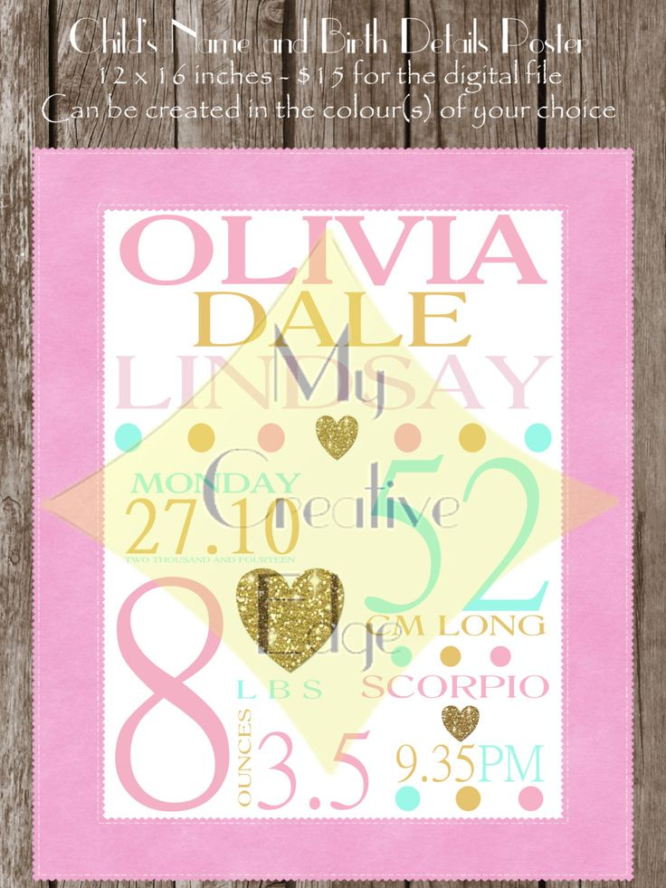 Poster - Child's Name and Birth Details by MyCreatve3dge on Etsy