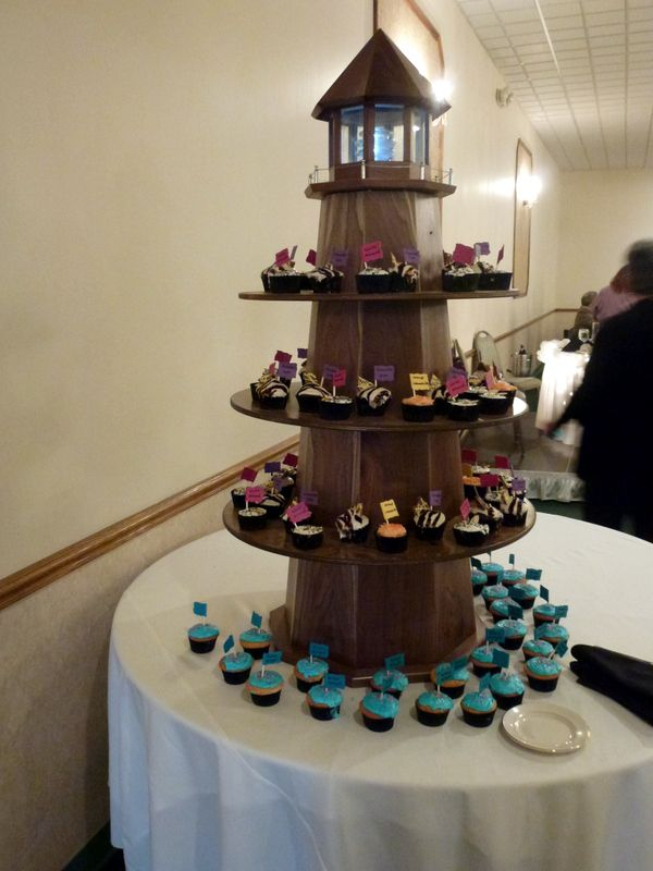 Lighthouse cupcake tower. Will be used as an outdoor ...