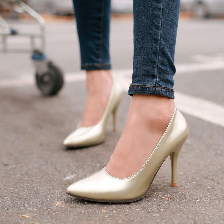 Туфли на высоком каблуке сексуальная острым носом красные нижние высокие каблуки ботинки женщин простые твердые тонкие каблуки женщины универсальный дамы туфли на шпильке Большой размер 34 - 43