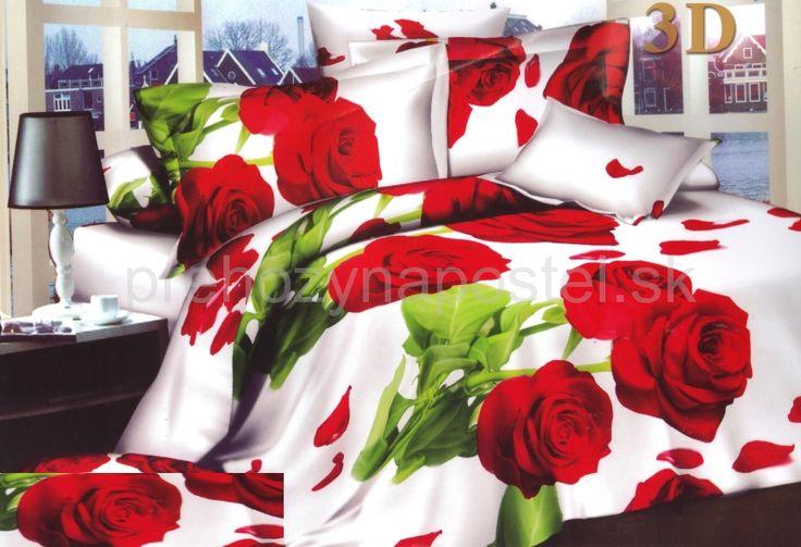 Biele 3D obliečky na postele s motívom červených ruží