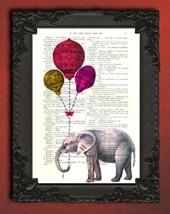 Elephant Art Print Red Balloon Dictionary Print Poster Dorm Decor Home Wall Decor Gift