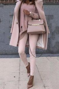 Sweet Plain Pink Loose Woolen Long Coat