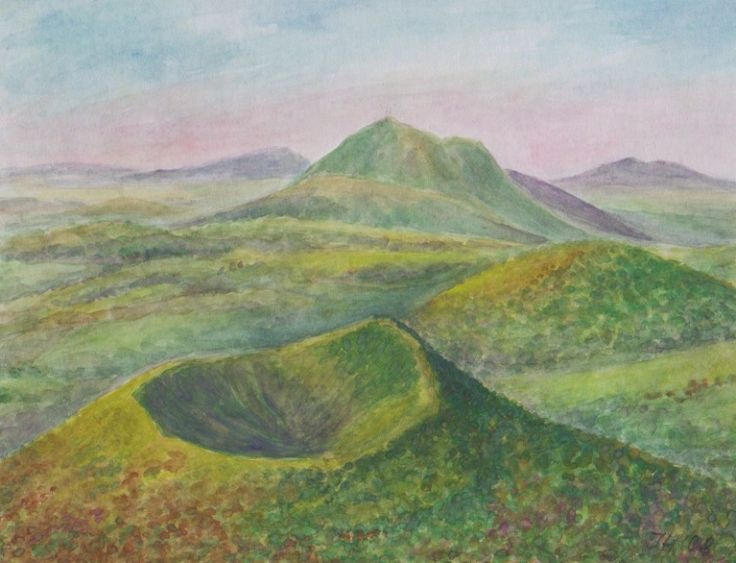 Volcanoes on Auvergne - Central Masiff France, watercolor by Jana Haasová