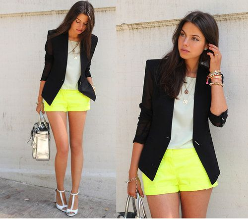 unexpected shoe choice, but it works!Neon Shorts, Fashion, Yellow Shorts, Helmut Lang, Street Style, Outfit, Neon Style, Neon Yellow, Black Blazers