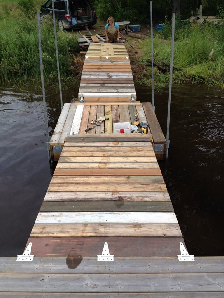 Floating dock with barrels updated lakes pond and for Pond pier plans