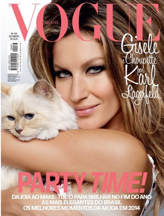 Vogue Brazil's Choupette Cover--One of the world's most famous models—Gisele Bundchen—and one of the fashion's most famous cats—Choupette Lagerfeld—land th