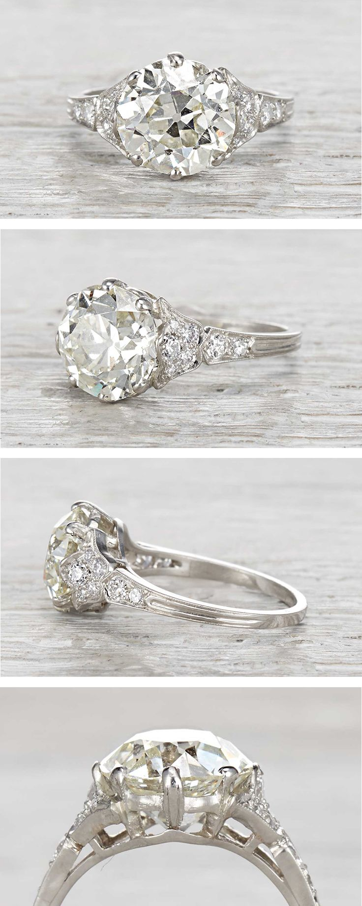 Vintage Edwardian engagement ring made in platinum and centered with a 3.93 carat GIA certified old European cut diamond with M color and VS1 clarity. Circa 1910.