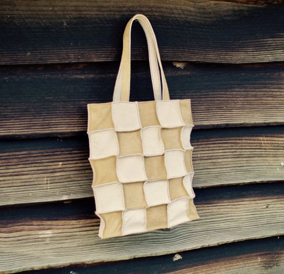 Leather Patchwork Tote Bag Tote Bag Suede Leather by TheRoadie