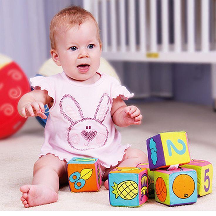 6 unids/set bebé soft play cubos de tela bloques de construcción para niños de múltiples funciones mágico sonajero campana bloques