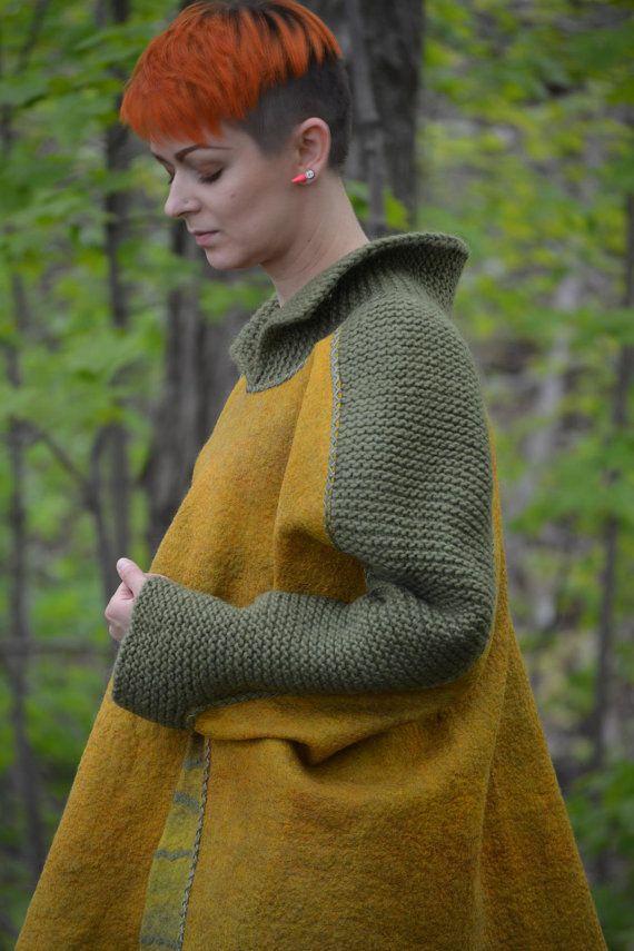 Boho style fashion felted reversible poncho from от LunataFelt
