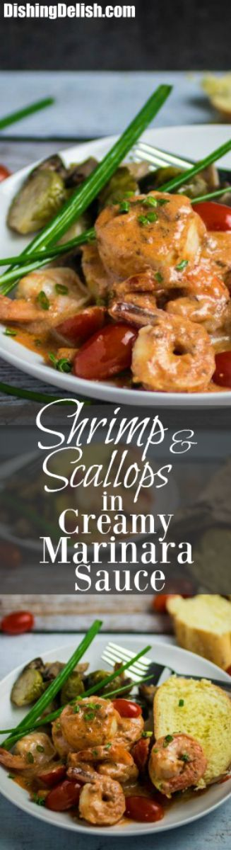 Repin to save recipe for later! Shrimp and scallops are lightly sautéed with herbs, tomatoes, garlic, white wine, and olive oil, then simmered in a savory, creamy marinara sauce for a weeknight dinner that'll make it feel like the weekend. This dish is best when served over pasta or polenta, and goes great with a glass of white wine. You won't believe how quick and easy this fancy Shrimp and Scallops in Creamy Marinara Sauce is to make, and it's done in only 20 minutes! Gluten Free!