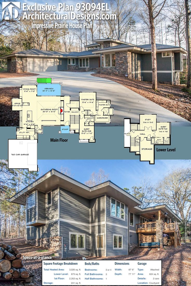 Architectural designs - Architectural Designs Exclusive Prairie House Plan 93094el Gives You Just Over 3 000 Square Feet Of Heated