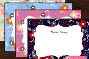 Ingyenes Nyomtatható virágos menyasszonyi Shower Meghívók